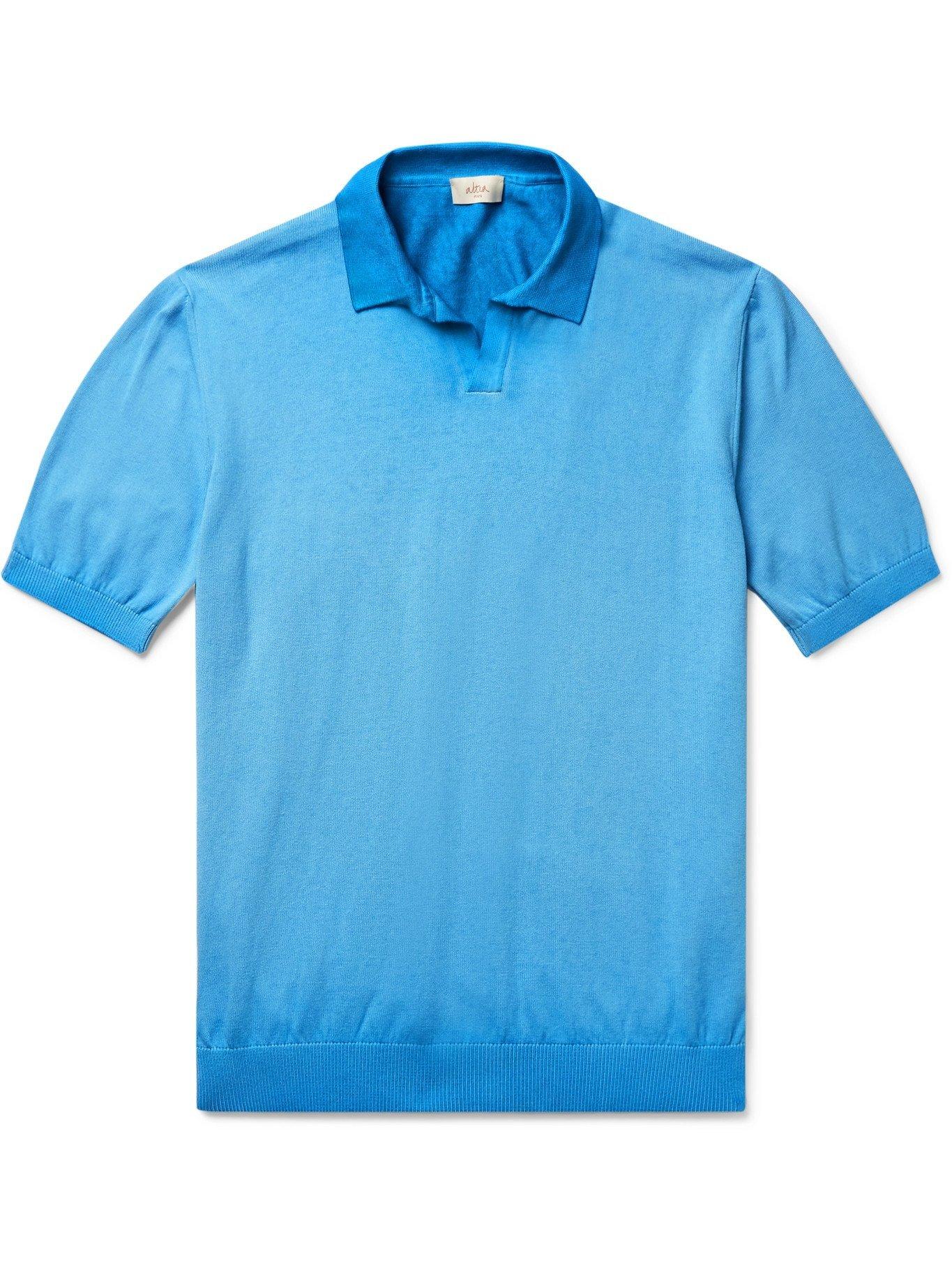ALTEA - Dégradé Cotton Polo Shirt - Blue