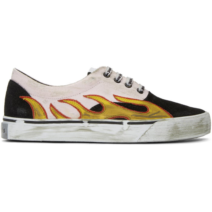 Black Distressed Flame Sneakers Palm Angels