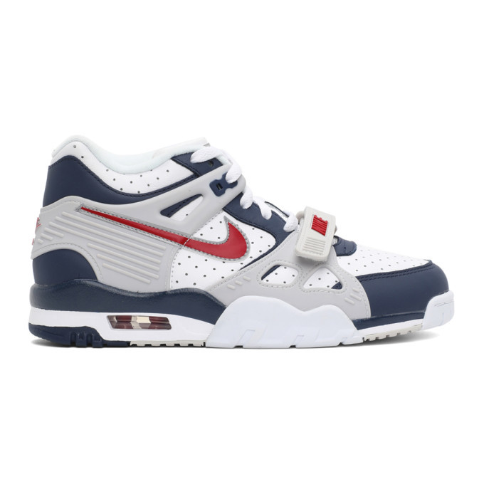 Photo: Nike White and Navy Air Trainer 3 Sneakers