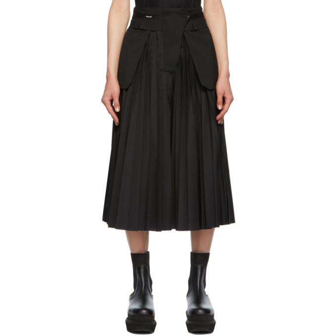 Sacai Black Poplin Pleated Skirt