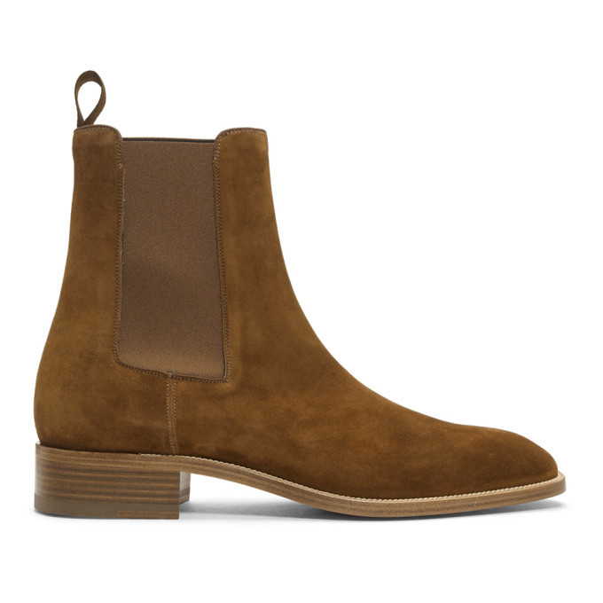 Photo: Christian Louboutin Brown Suede Samson Chelsea Boots