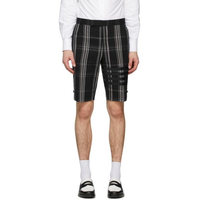 Photo: Thom Browne Black Seersucker Plaid 4-Bar Classic Shorts