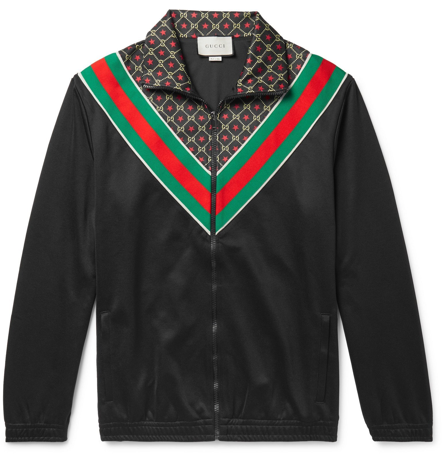 Photo: Gucci - Webbing-Trimmed Logo-Print Tech-Jersey Track Jacket - Black