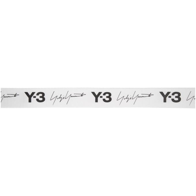 Y-3 White and Black Logo Belt