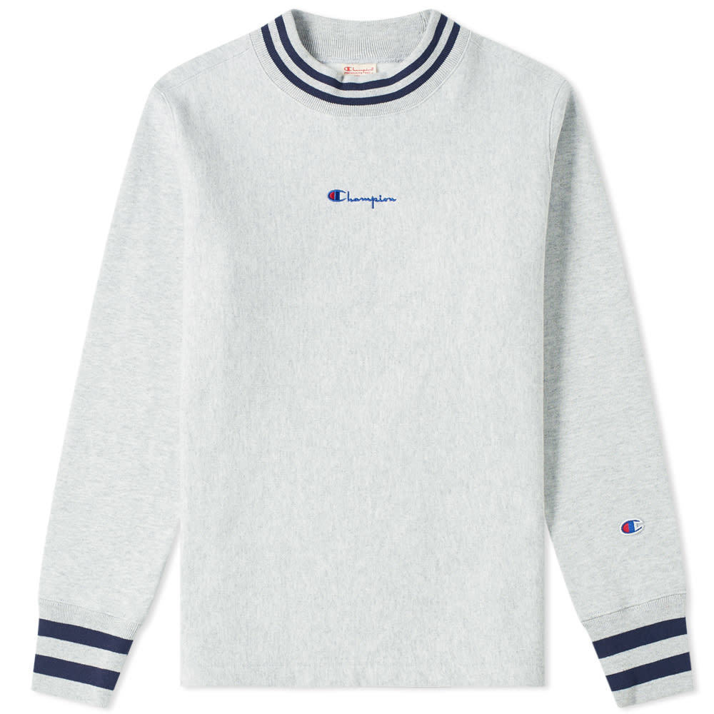 Photo: Champion Reverse Weave Script Logo High Neck Sweat Grey Marl