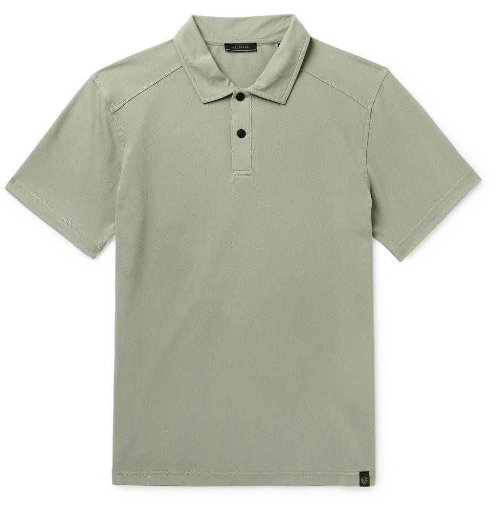 Photo: Belstaff - Stretch-Cotton Piqué Polo Shirt - Green