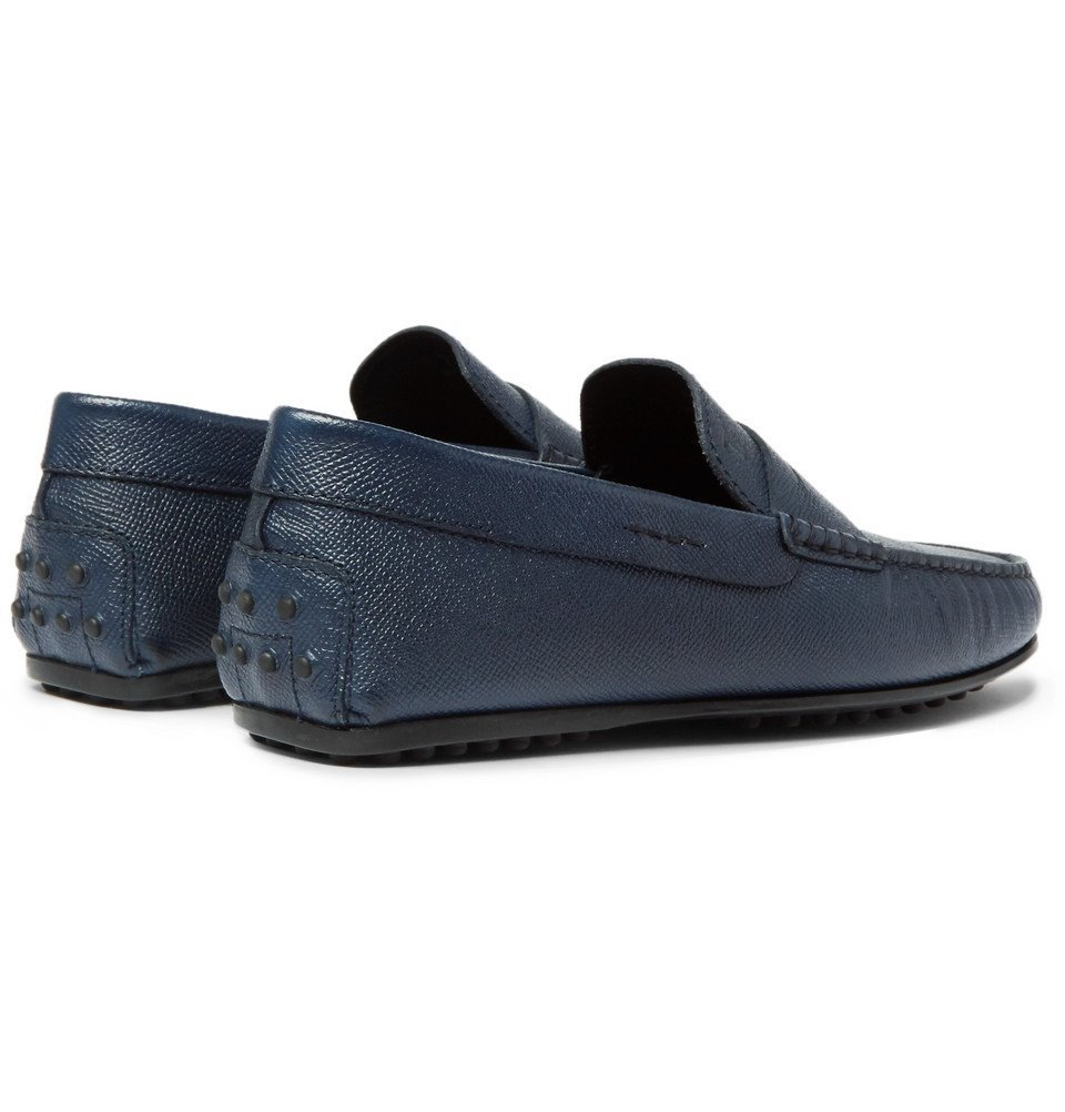 Tod's - City Gommino Textured-Leather Penny Loafers - Men - Navy