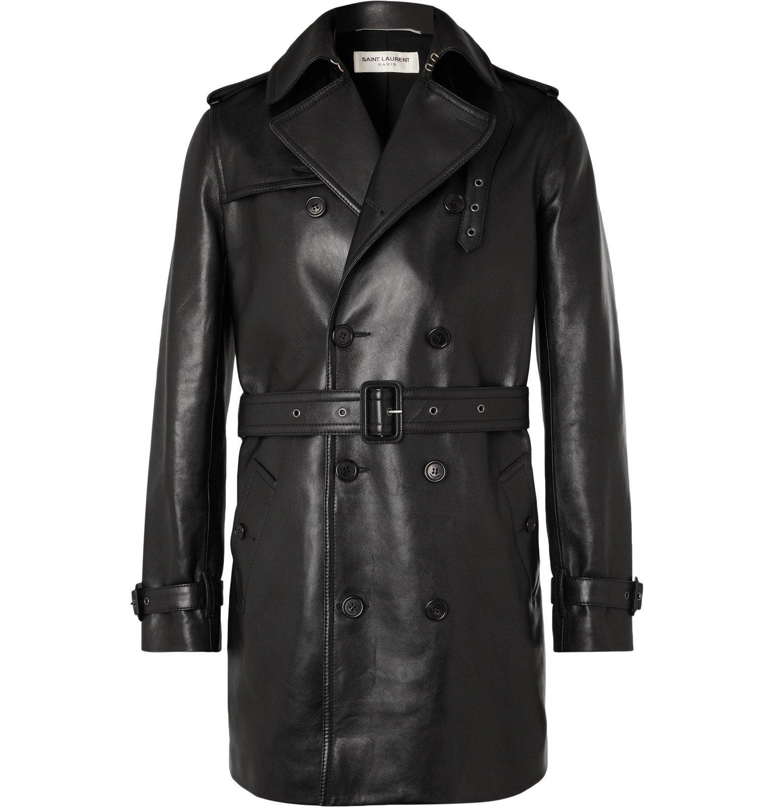 Photo: SAINT LAURENT - Leather Trench Coat - Black