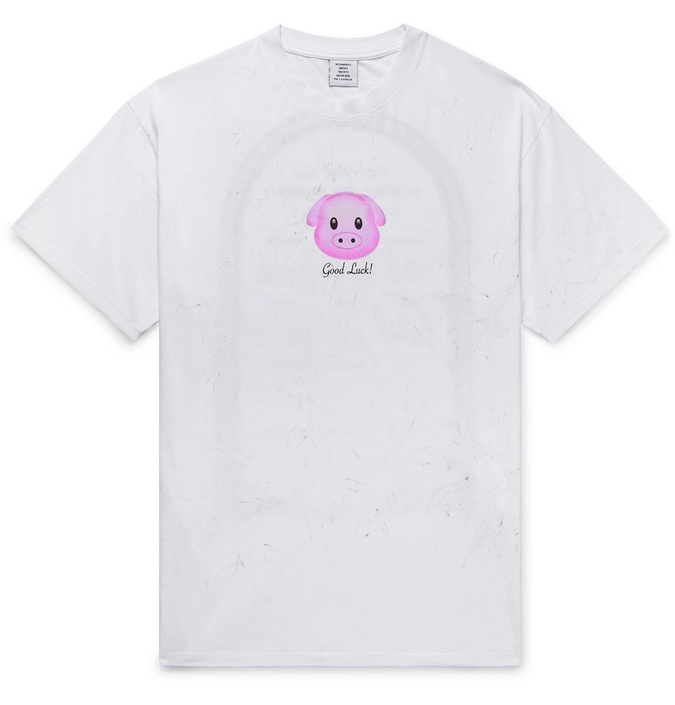 Photo: Vetements - Printed Cotton-Jersey T-Shirt - White