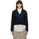 Nina Ricci Navy Mohair Cable Knit Cardigan