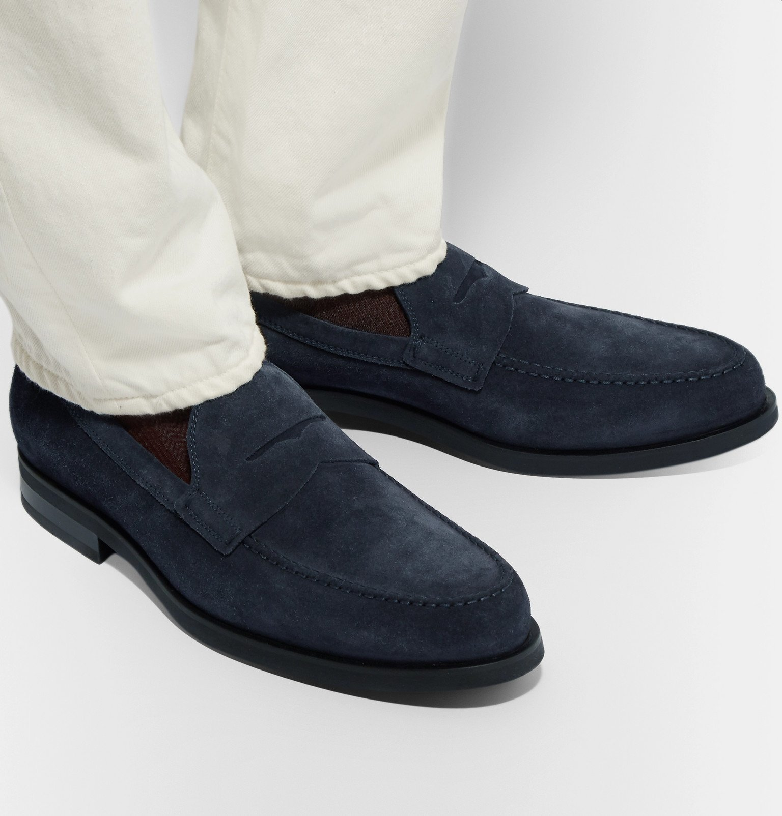 Tod's - Suede Penny Loafers - Blue