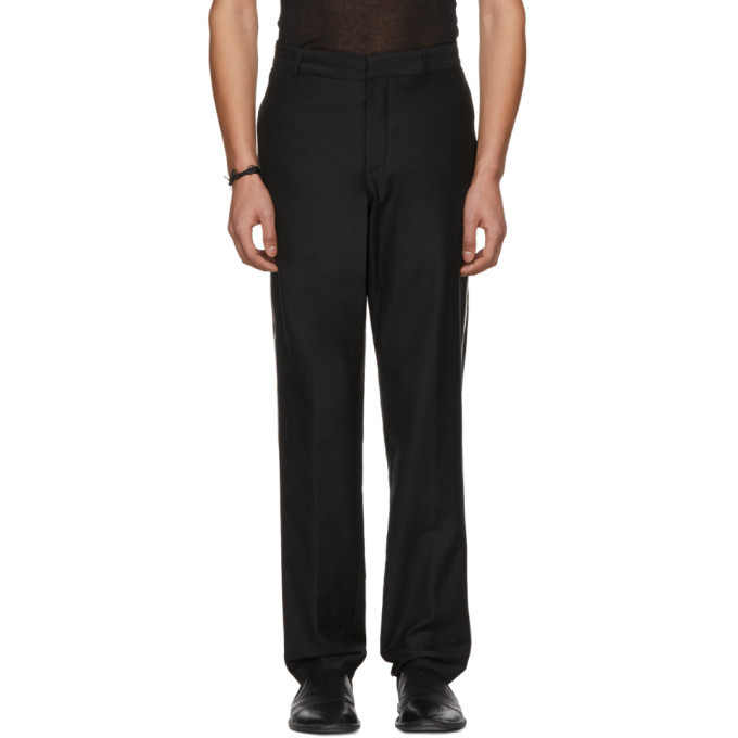 Photo: Ann Demeulemeester Black Wool Contrast Piping Trousers
