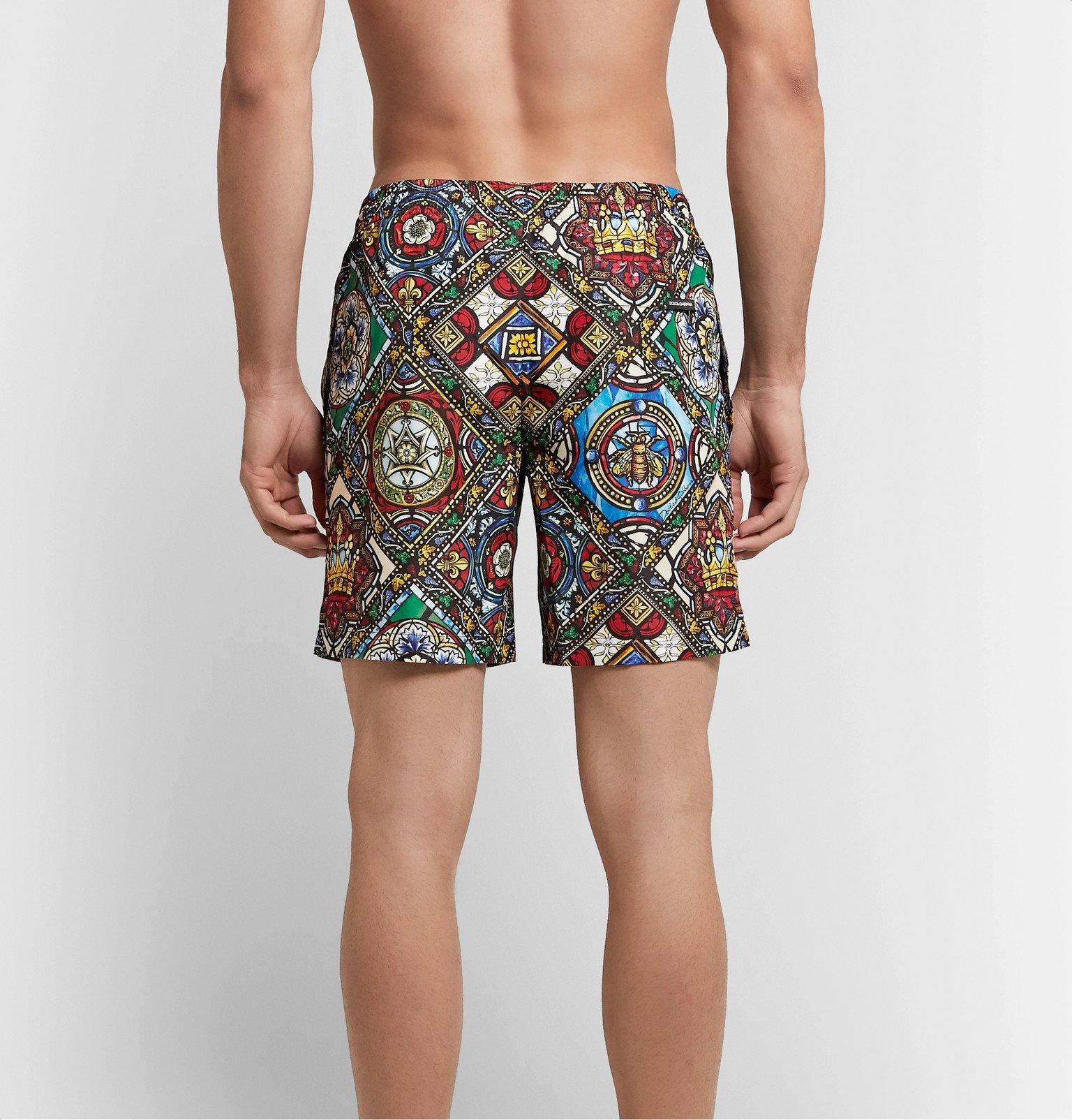 Dolce & Gabbana - Long-Length Printed Swim Shorts - Multi