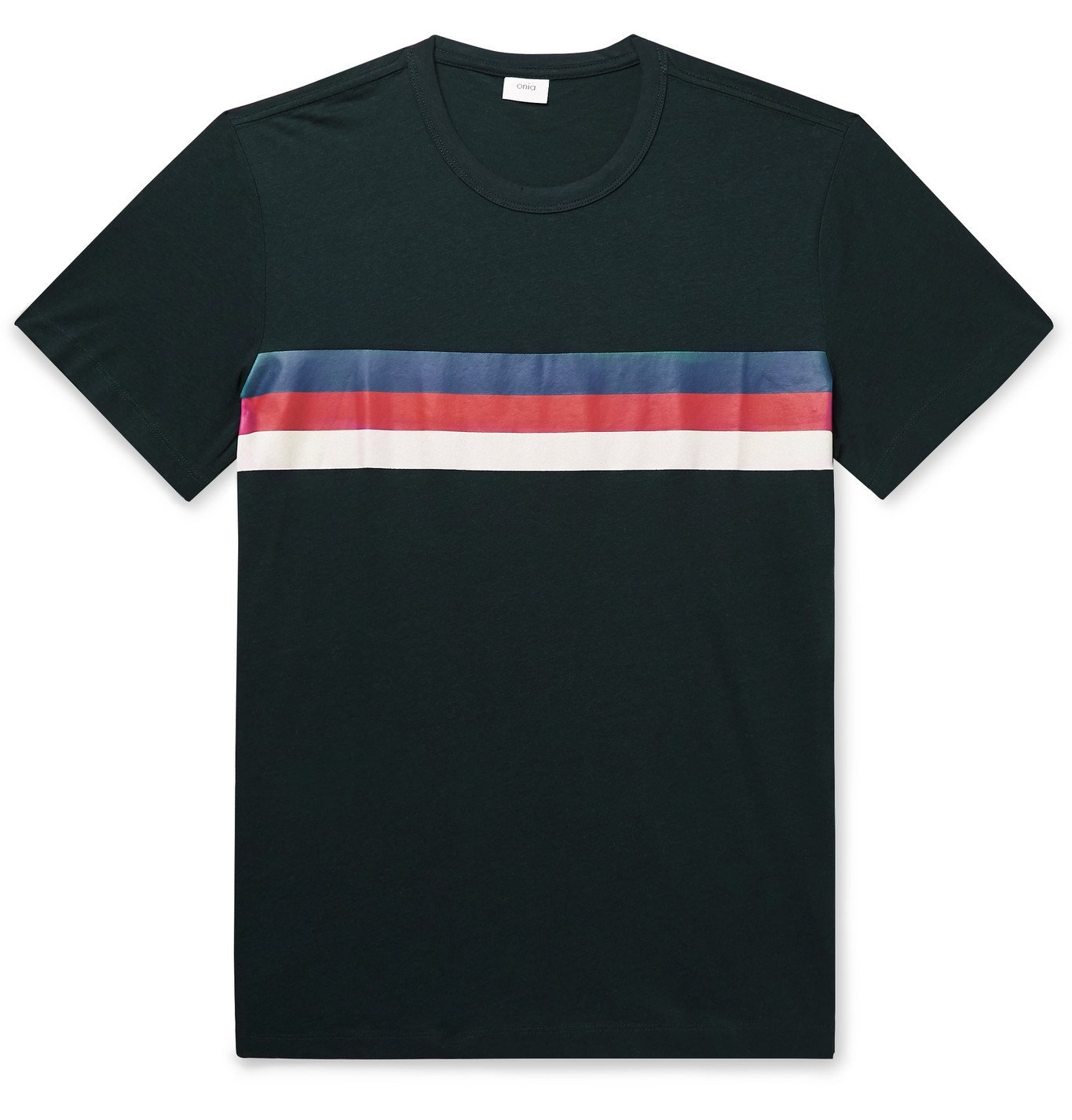 Photo: Onia - Johnny Striped Cotton and Modal-Blend Jersey T-Shirt - Blue