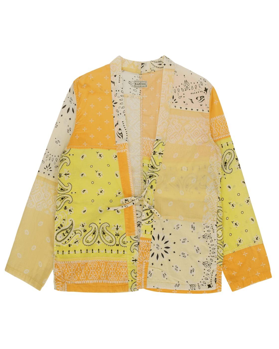 Kapital Gauze Bandana Patchwork Kakashi Shirt Yellow