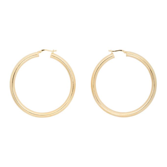 Photo: Bottega Veneta Gold Thin Hoop Earrings