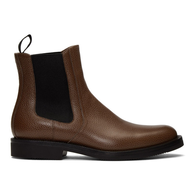 Photo: Dries Van Noten Brown Pebbled Chelsea Boots
