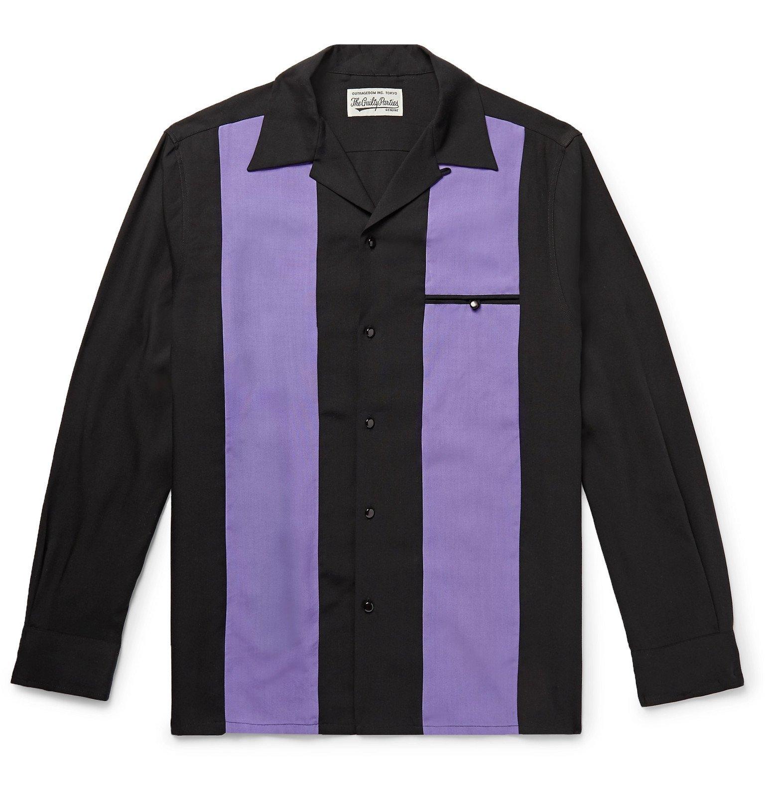 Photo: Wacko Maria - Camp-Collar Striped Lyocell Shirt - Purple