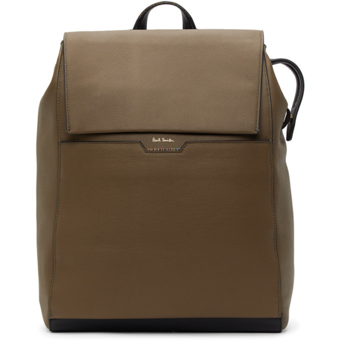 Photo: Paul Smith Taupe Leather Signature Stripe Backpack