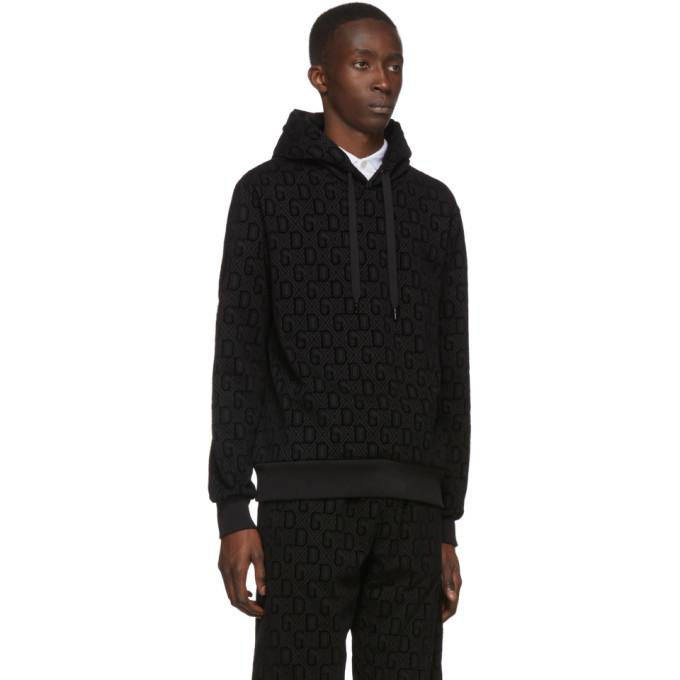 Dolce and Gabbana Black Flocked Print Hoodie
