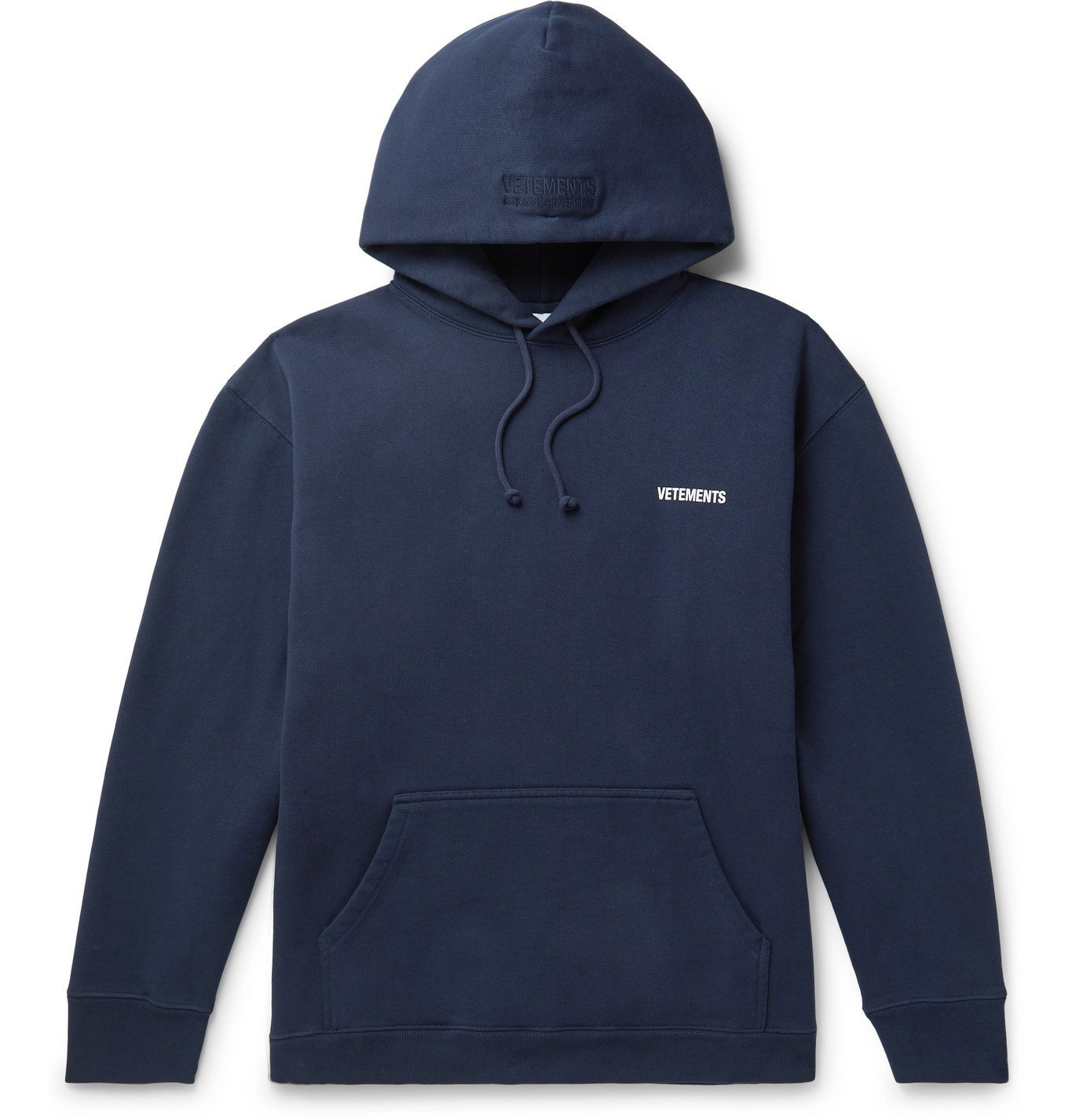 Photo: Vetements - Logo-Print Fleece-Back Cotton-Blend Jersey Hoodie - Blue