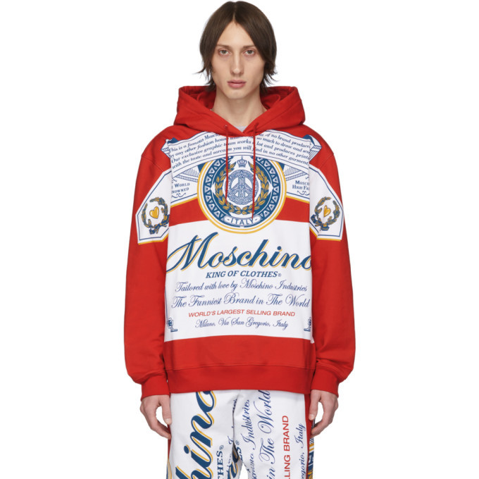 Photo: Moschino Red and White Budweiser Edition Logo Hoodie