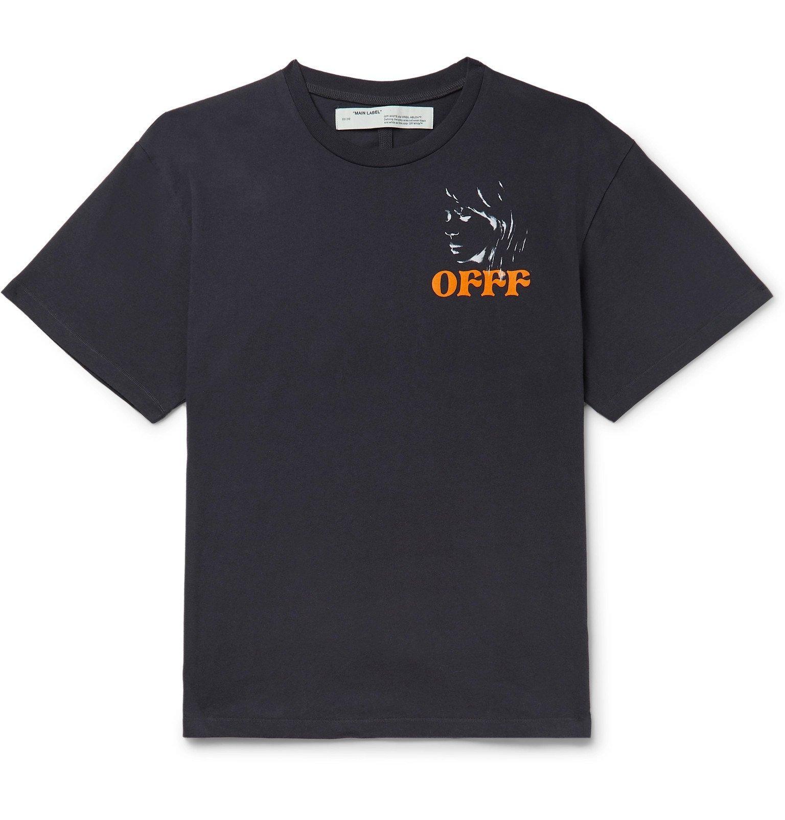 Photo: Off-White - Printed Cotton-Jersey T-Shirt - Black