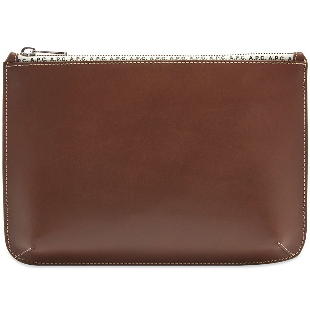 Photo: A.P.C. Jacob Leather Zip Logo Pouch