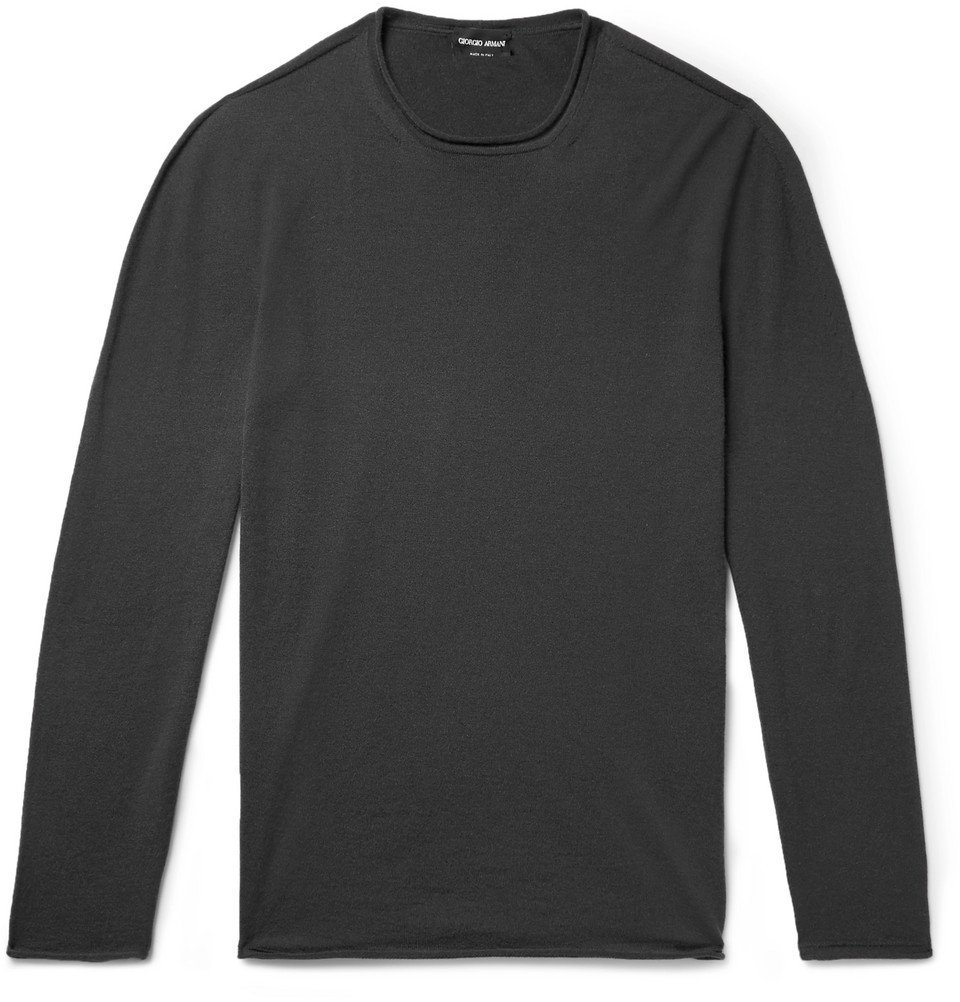 Giorgio Armani - Slim-Fit Cashmere-Blend Sweater - Men - Charcoal