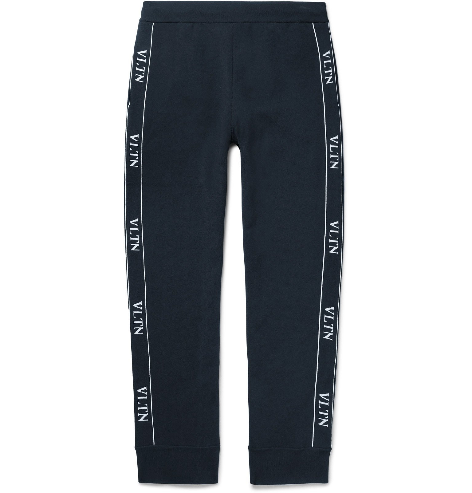 Photo: Valentino - Logo-Jacquard Tech-Jersey Track Pants - Blue