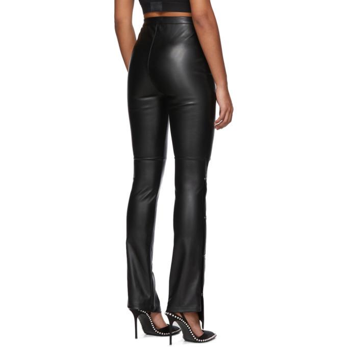 alexanderwang.t Black Faux-Leather Side Snap Trousers