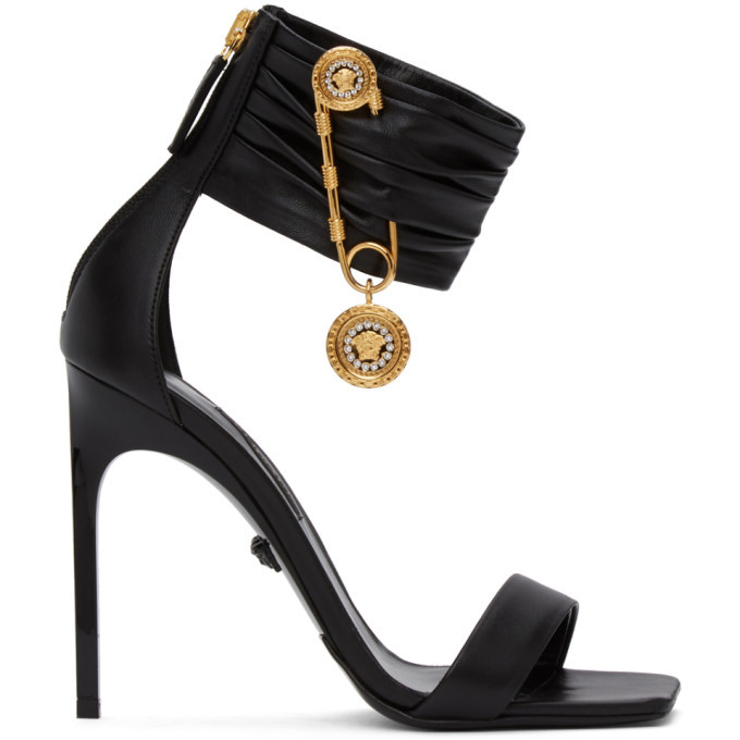 Photo: Versace Black Medusa Brooch Heeled Sandals