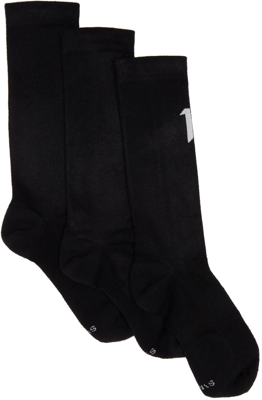 Photo: 11 by Boris Bidjan Saberi Three-Pack Black Logo Type Socks