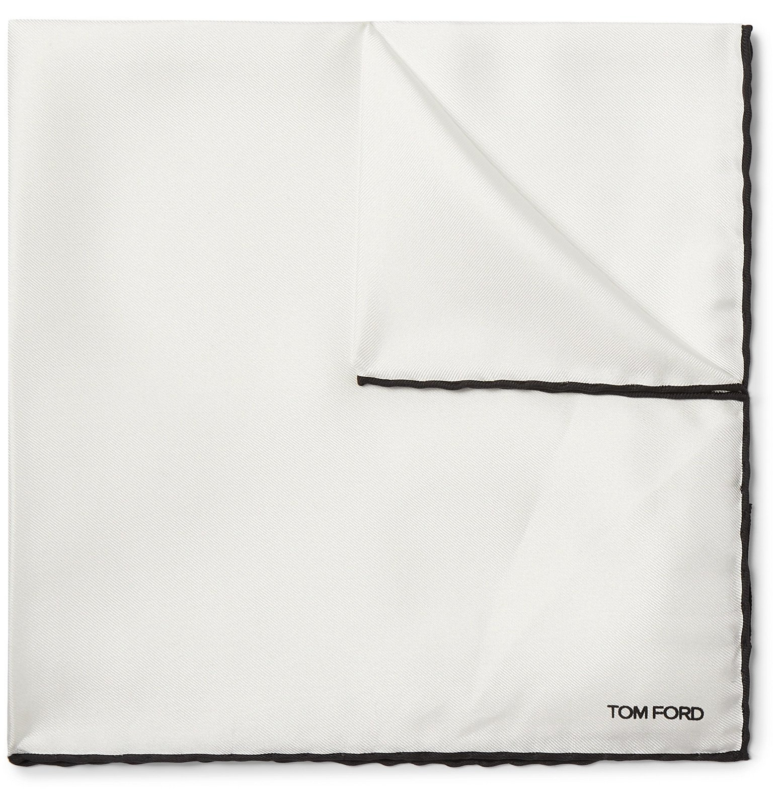 Photo: TOM FORD - Contrast-Tipped Silk-Twill Pocket Square - White