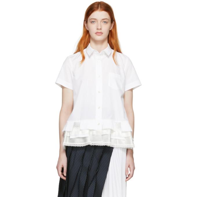 Photo: Sacai White Poplin Short Sleeve Shirt