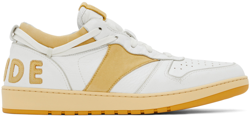 Photo: Rhude White & Yellow Rhecess Low Sneakers