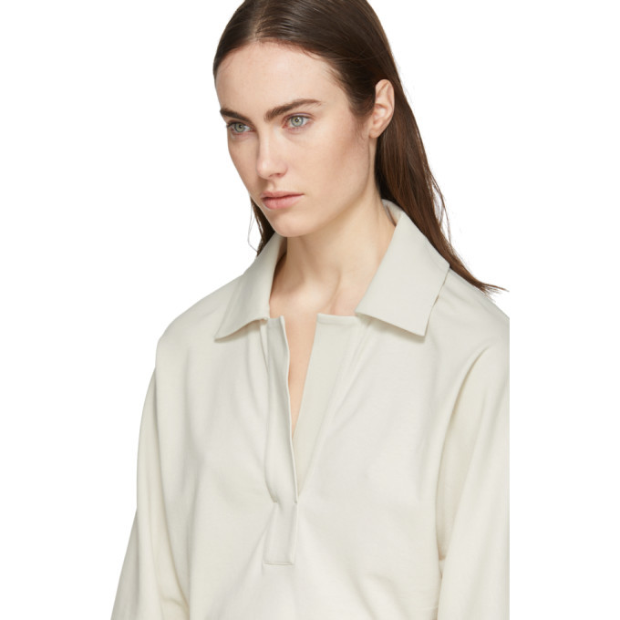 Lemaire Off-White Three-Quarter Sleeve Polo