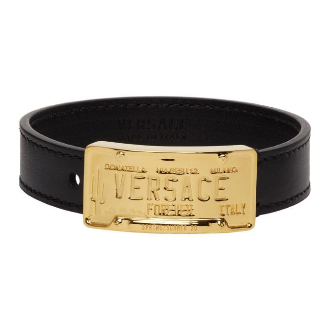 Photo: Versace Black and Gold Leather Bracelet