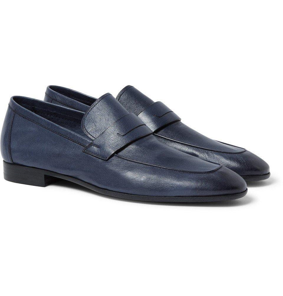 Photo: Berluti - Lorenzo Polished Full-Grain Leather Loafers - Navy
