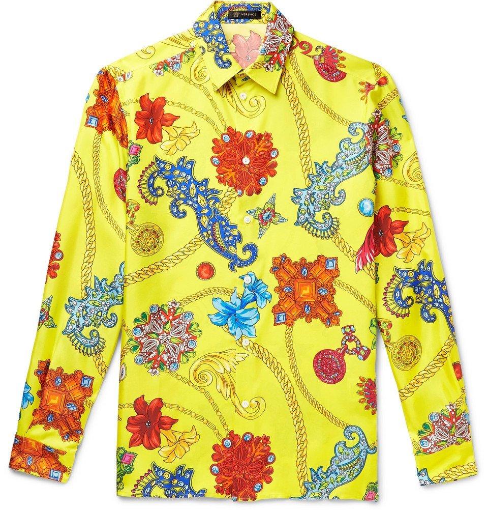 Photo: Versace - Printed Silk-Twill Shirt - Yellow