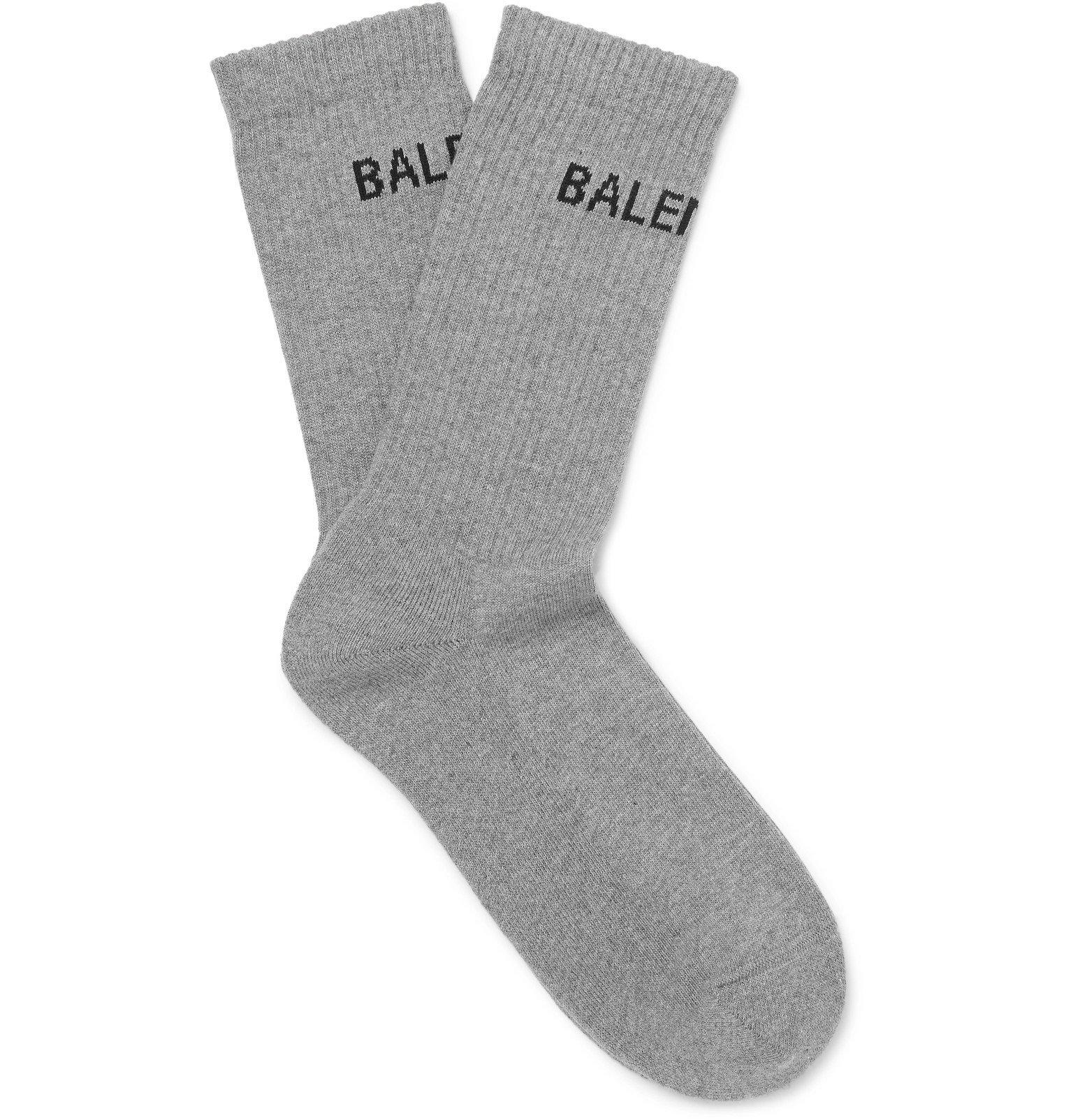 Photo: Balenciaga - Logo-Intarsia Stretch Cotton-Blend Socks - Gray