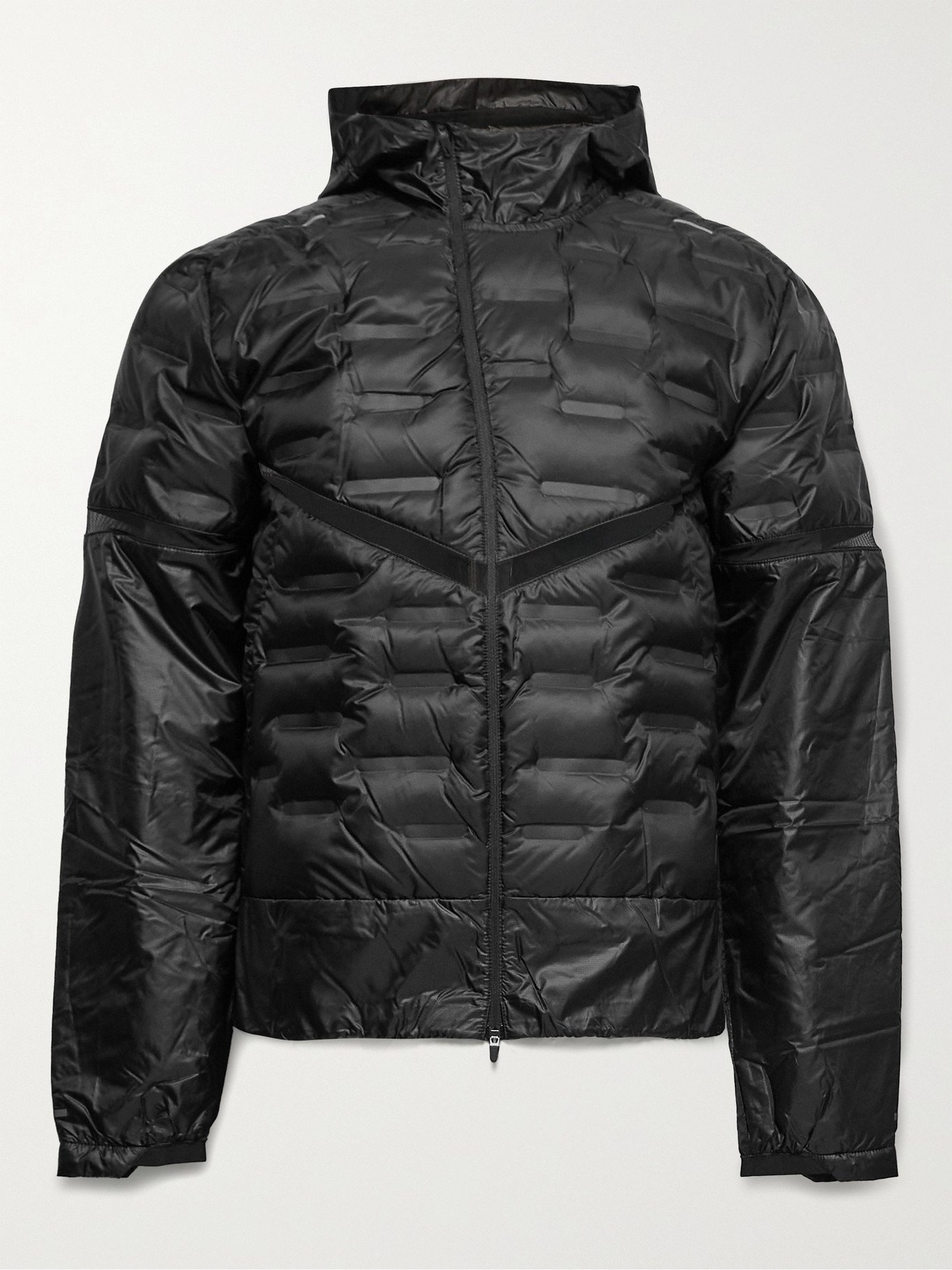 Photo: Nike Running - AeroLoft Mesh-Panelled Quilted Shell Hooded Jacket - Black