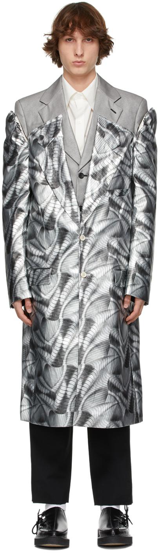 Photo: Comme des Garçons Homme Plus Silver Layered Inkjet Print Coat