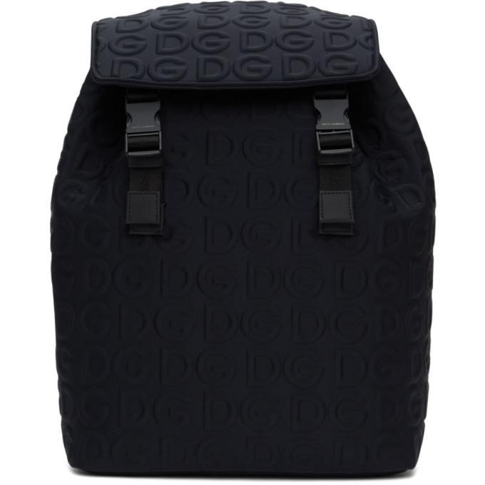 Photo: Dolce and Gabbana Black Neoprene Embossed Logo Backpack