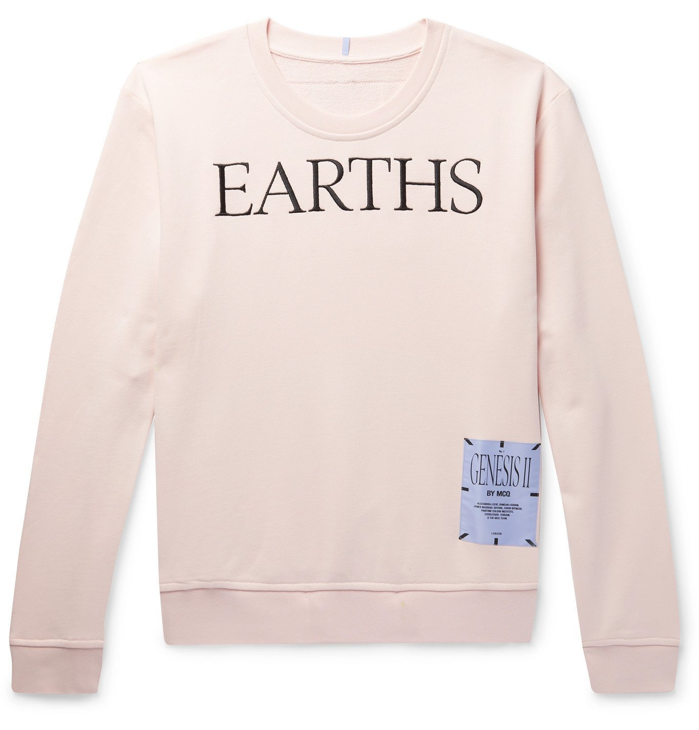 Photo: MCQ - Embroidered Appliquéd Loopback Cotton-Jersey Sweatshirt - Pink