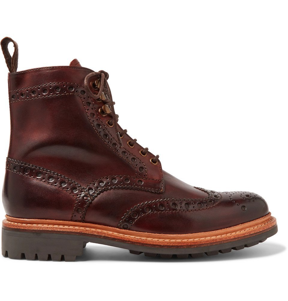 Photo: Grenson - Fred Burnished-Leather Brogue Boots - Tan