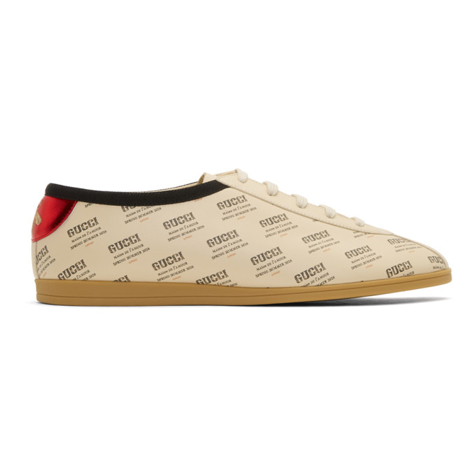 Photo: Gucci Off-White All Over Stamp Print Falacer Sneakers
