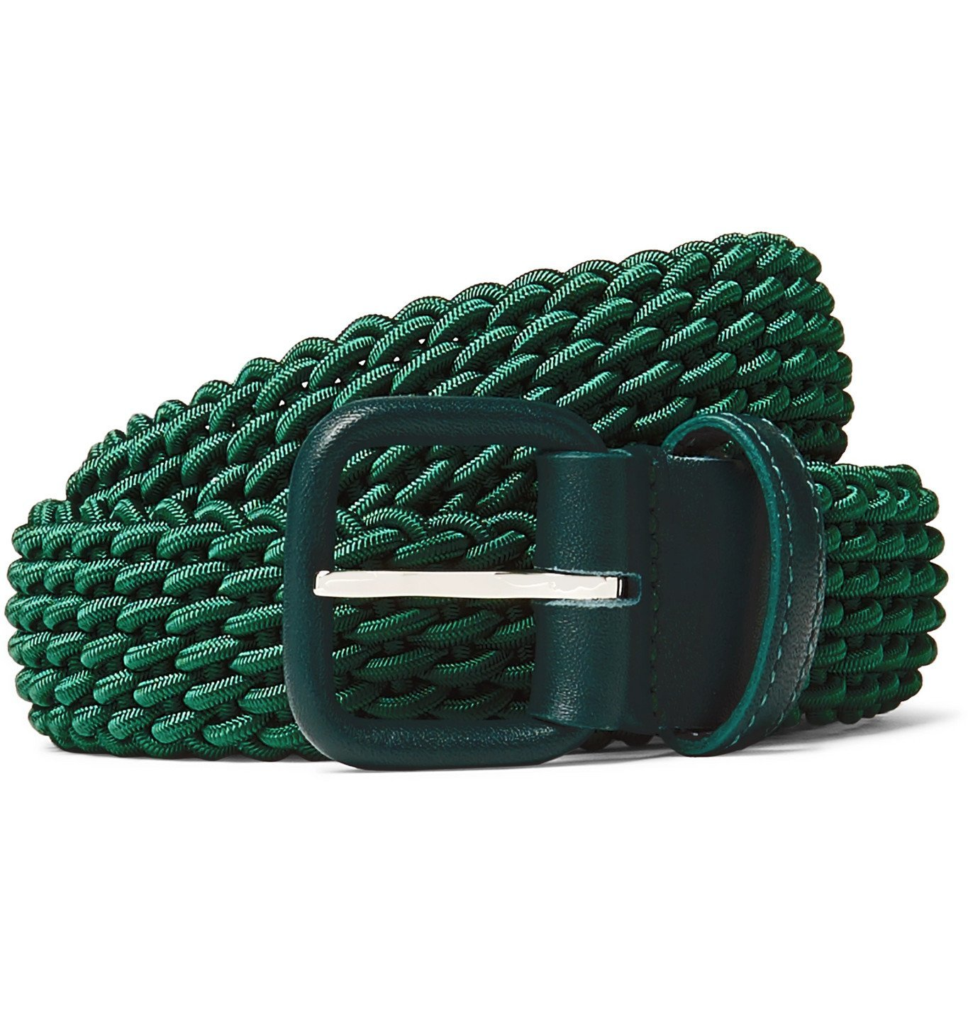 Photo: Charvet - 3cm Burgundy Leather-Trimmed Woven Elastic Belt - Green