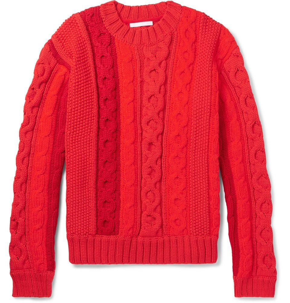 Photo: Helmut Lang - Cable-Knit Sweater - Men - Red