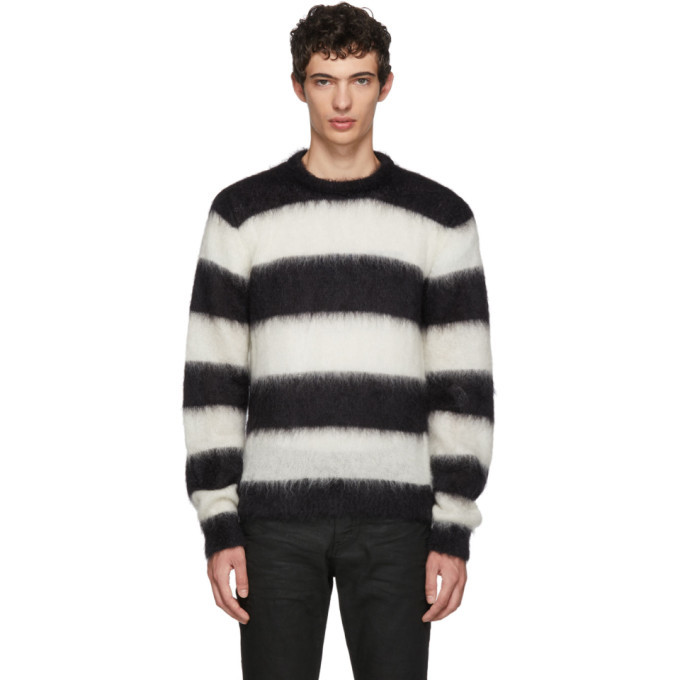 Photo: Saint Laurent Black and White Striped Mohair Sweater